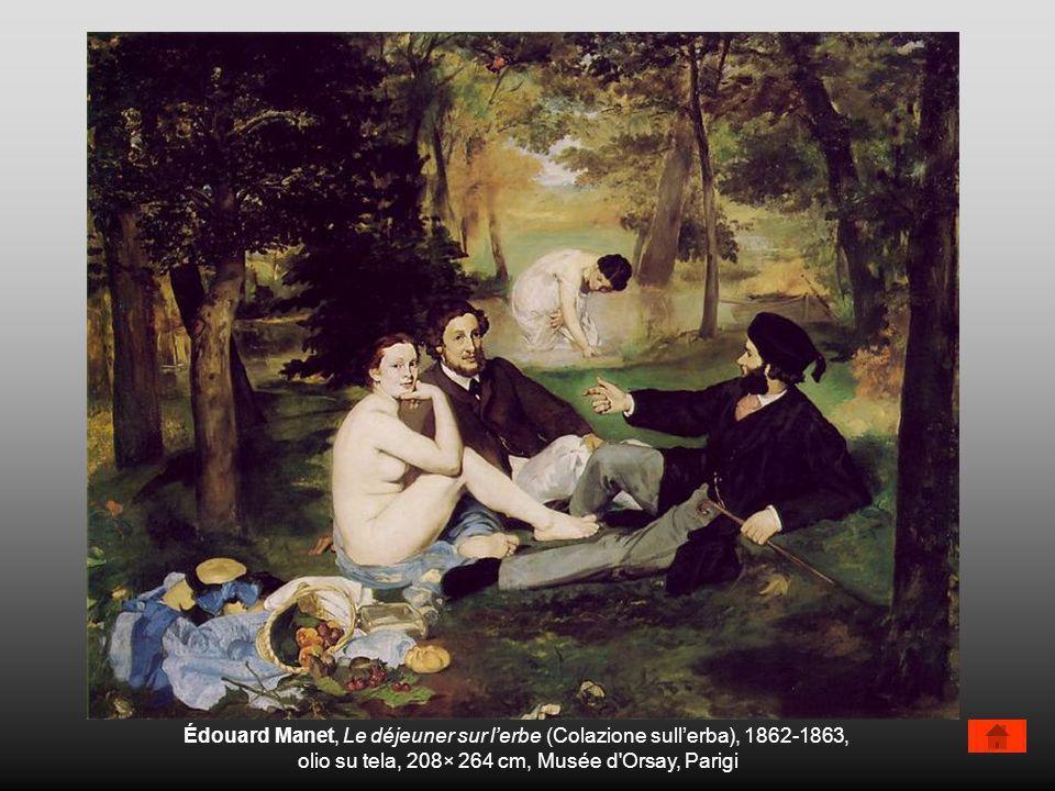 Édouard Manet, Le déjeuner sur lerbe (Colazione sullerba), 1862-1863, olio su tela, 208× 264 cm, Musée d'Orsay, Parigi