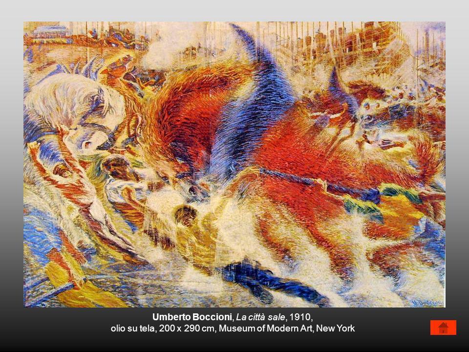 Umberto Boccioni, La città sale, 1910, olio su tela, 200 x 290 cm, Museum of Modern Art, New York