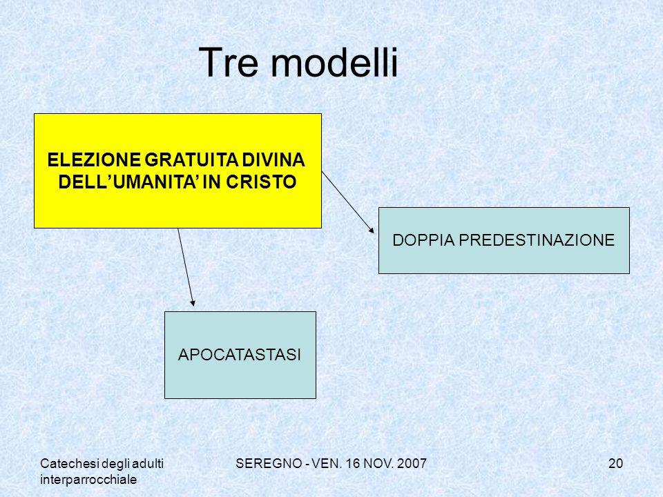 Catechesi degli adulti interparrocchiale SEREGNO - VEN. 16 NOV. 200720 Tre modelli ELEZIONE GRATUITA DIVINA DELLUMANITA IN CRISTO DOPPIA PREDESTINAZIO