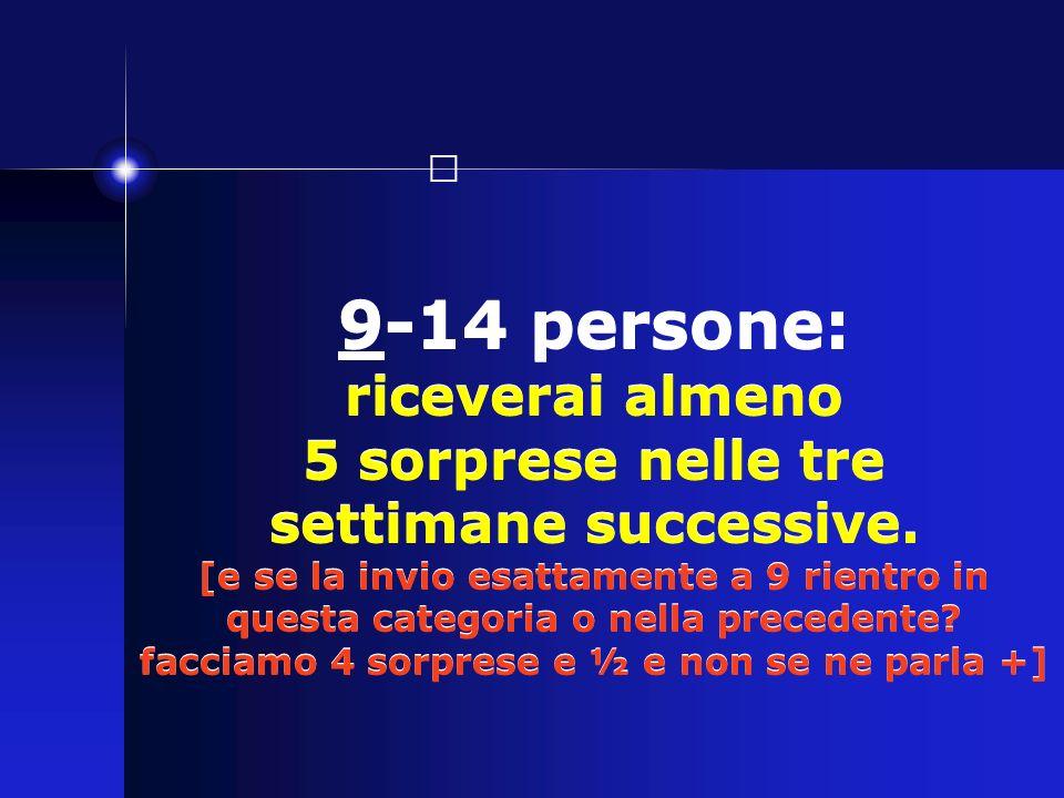 9-14 persone: riceverai almeno 5 sorprese nelle tre settimane successive. [e se la invio esattamente a 9 rientro in questa categoria o nella precedent