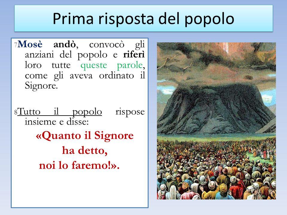 7 Mosè andò, convocò gli anziani del popolo e riferì loro tutte queste parole, come gli aveva ordinato il Signore. 8 Tutto il popolo rispose insieme e