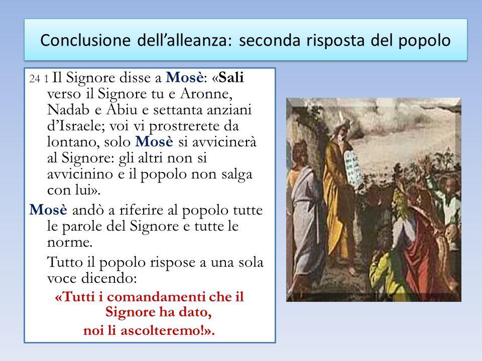 24 1 Il Signore disse a Mosè: «Sali verso il Signore tu e Aronne, Nadab e Abiu e settanta anziani dIsraele; voi vi prostrerete da lontano, solo Mosè s