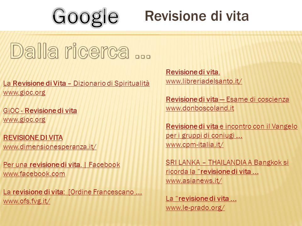 La Revisione di Vita – Dizionario di Spiritualità www.gioc.org GiOC - Revisione di vita www.gioc.org REVISIONE DI VITA www.dimensionesperanza.it/ Per