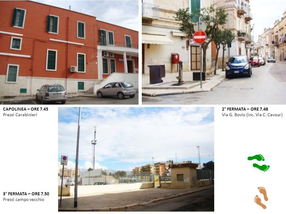 CAPOLINEA – ORE 7.45 Pressi Carabinieri 2° FERMATA – ORE 7.48 Via G.
