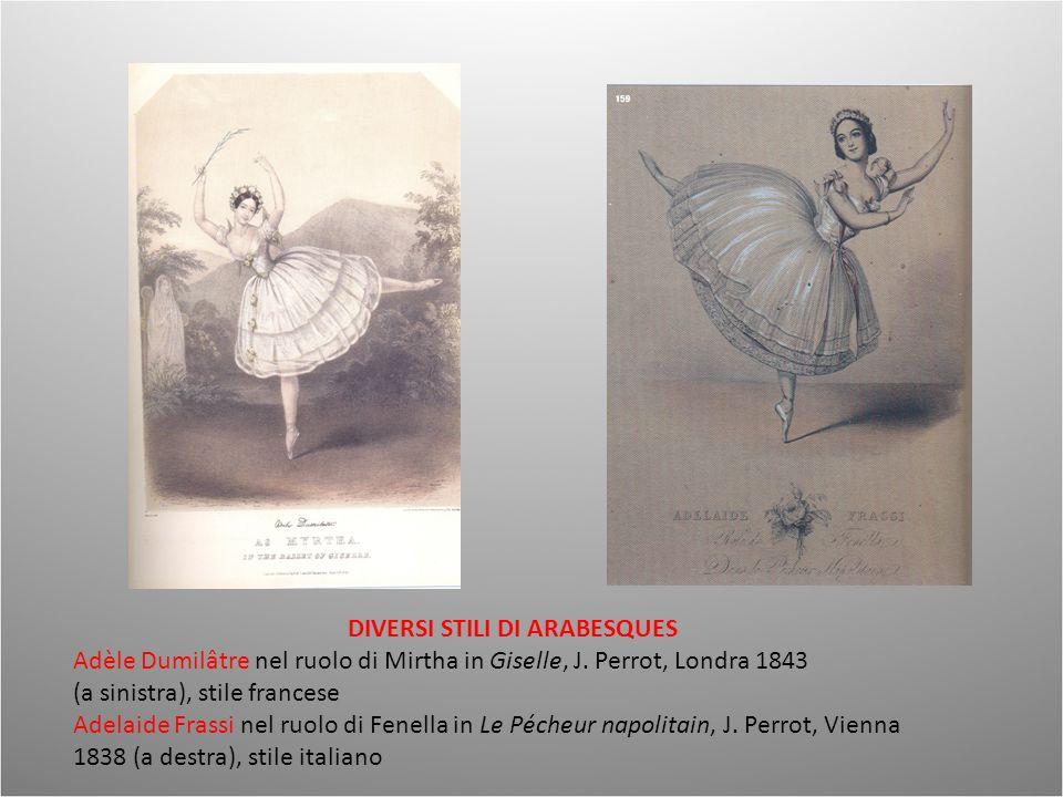 DIVERSI STILI DI ARABESQUES Adèle Dumilâtre nel ruolo di Mirtha in Giselle, J. Perrot, Londra 1843 (a sinistra), stile francese Adelaide Frassi nel ru