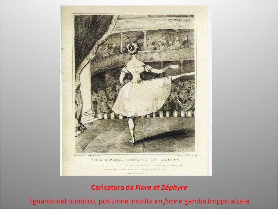 Caricatura da Flore et Zéphyre Sguardo del pubblico, posizione insolita en face e gamba troppo alzata