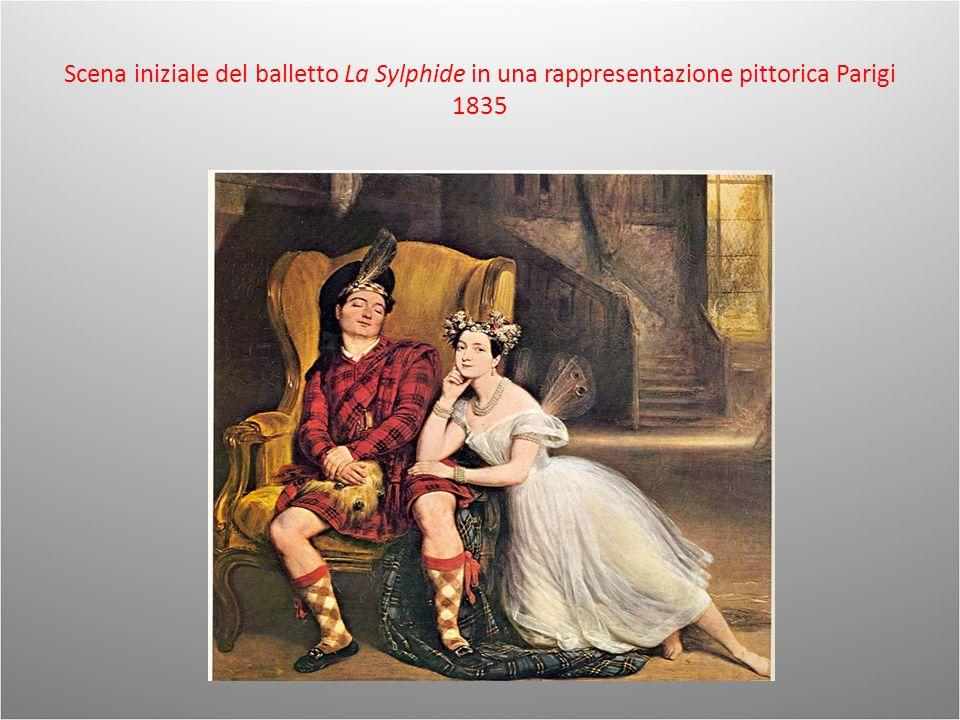 Scena iniziale del balletto La Sylphide in una rappresentazione pittorica Parigi 1835
