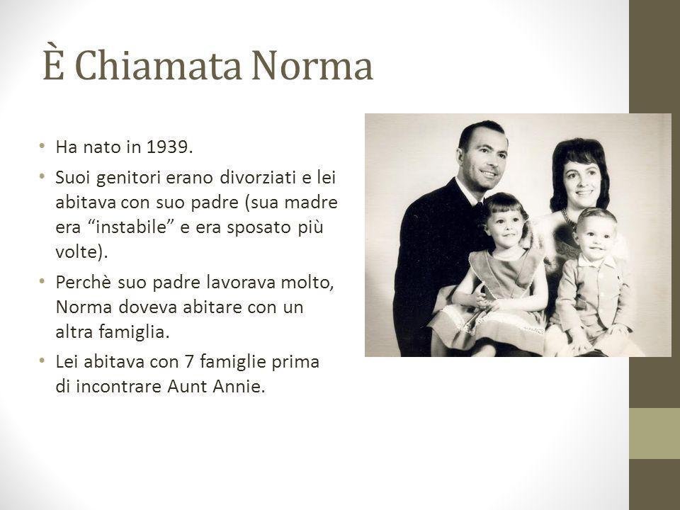 È Chiamata Norma Ha nato in 1939. Suoi genitori erano divorziati e lei abitava con suo padre (sua madre era instabile e era sposato più volte). Perchè