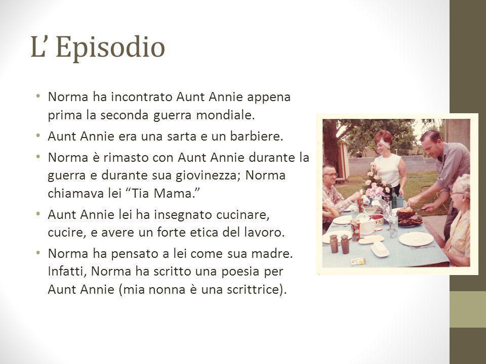 L Episodio Norma ha incontrato Aunt Annie appena prima la seconda guerra mondiale. Aunt Annie era una sarta e un barbiere. Norma è rimasto con Aunt An
