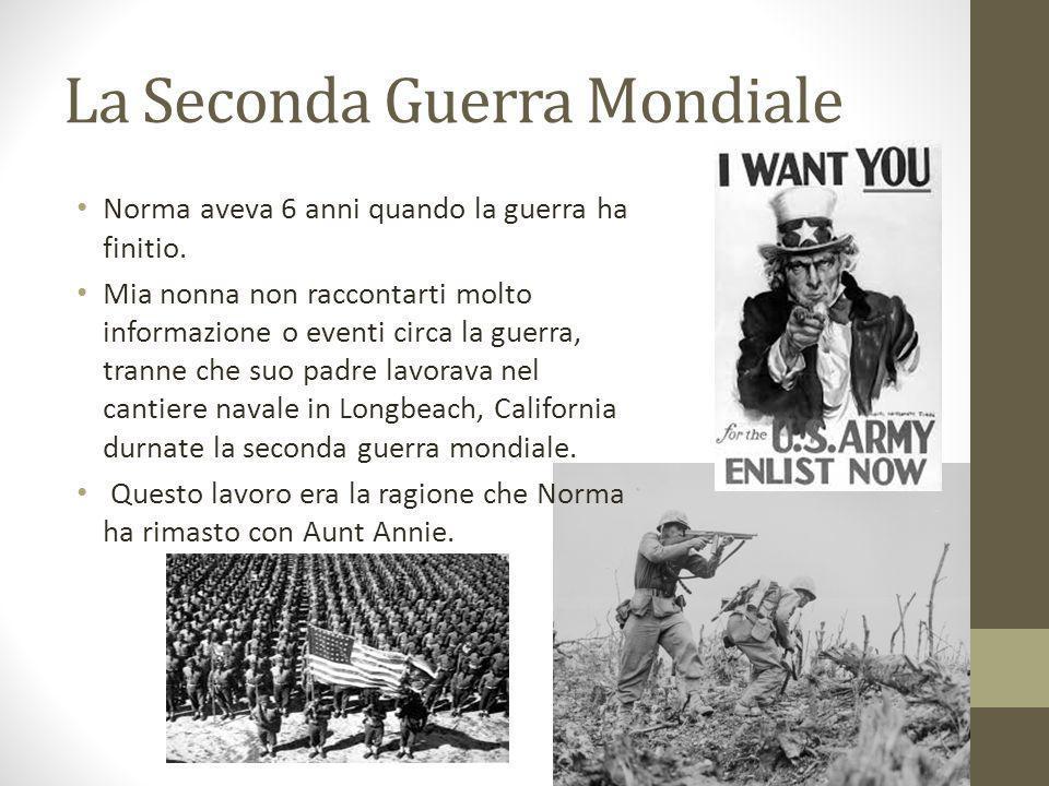 La Seconda Guerra Mondiale Norma aveva 6 anni quando la guerra ha finitio. Mia nonna non raccontarti molto informazione o eventi circa la guerra, tran
