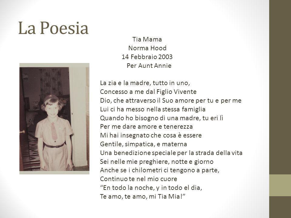 La Poesia Tia Mama Norma Hood 14 Febbraio 2003 Per Aunt Annie La zia e la madre, tutto in uno, Concesso a me dal Figlio Vivente Dio, che attraverso il