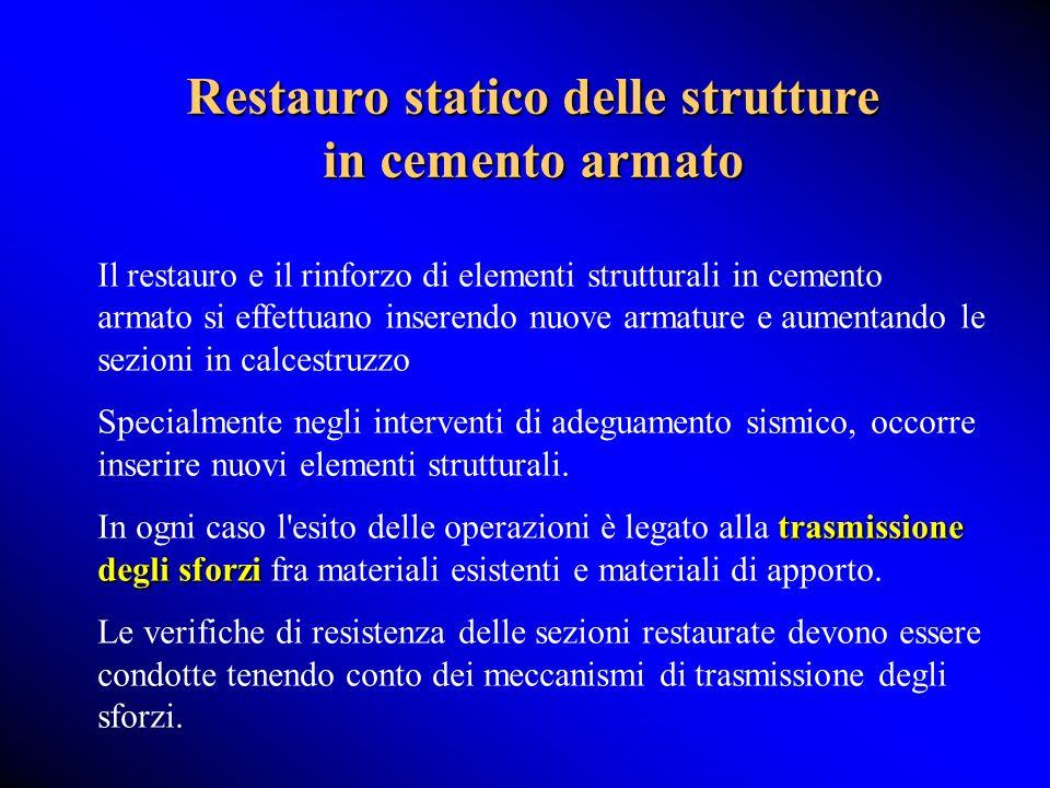 Restauro statico delle strutture in cemento armato Il restauro e il rinforzo di elementi strutturali in cemento armato si effettuano inserendo nuove a
