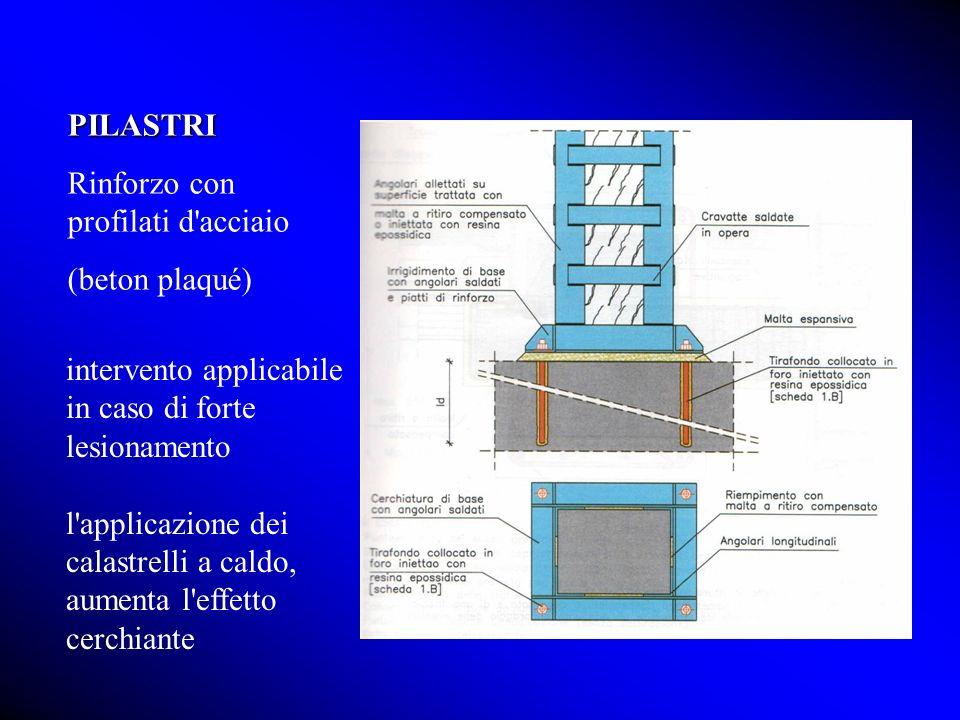 PILASTRI Rinforzo con profilati d'acciaio (beton plaqué) intervento applicabile in caso di forte lesionamento l'applicazione dei calastrelli a caldo,