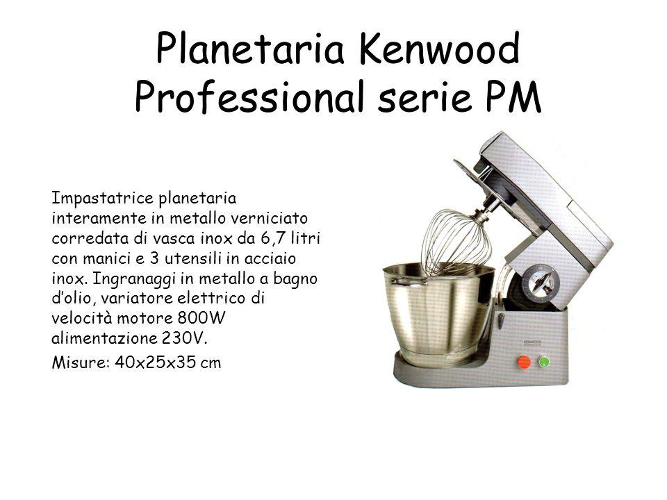 Planetaria Kenwood Professional serie PM Impastatrice planetaria interamente in metallo verniciato corredata di vasca inox da 6,7 litri con manici e 3