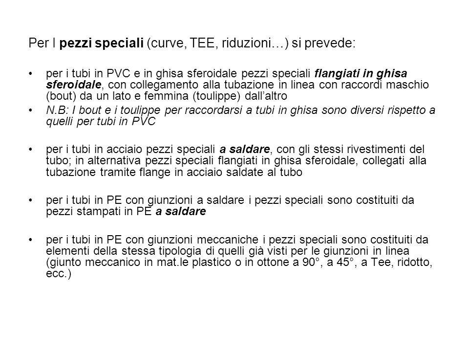 Per I pezzi speciali (curve, TEE, riduzioni…) si prevede: per i tubi in PVC e in ghisa sferoidale pezzi speciali flangiati in ghisa sferoidale, con co
