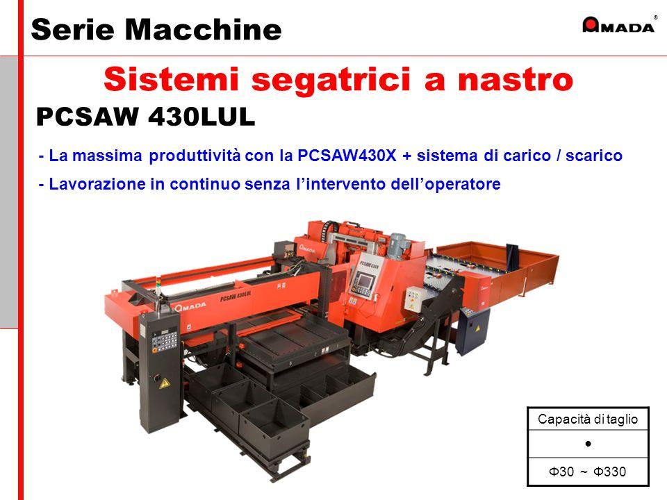 ® PCSAW 430LUL - La massima produttività con la PCSAW430X + sistema di carico / scarico - Lavorazione in continuo senza lintervento delloperatore Capacità di taglio Φ30 Φ330 Sistemi segatrici a nastro Serie Macchine