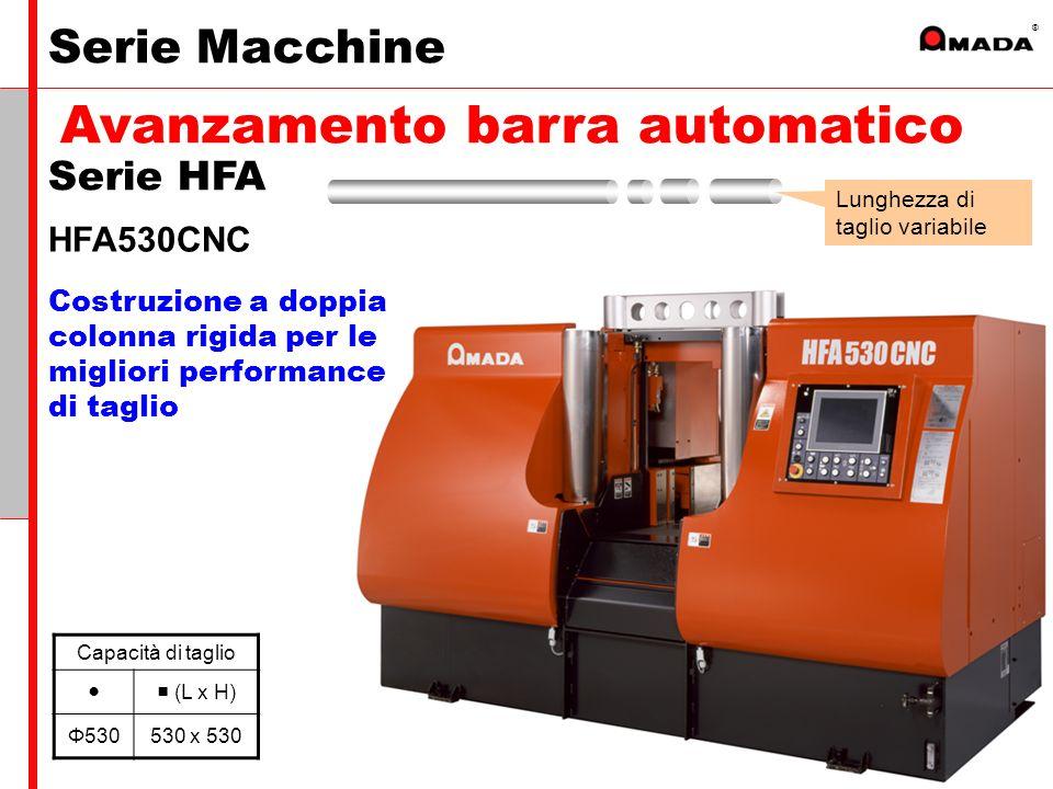 ® Costruzione a doppia colonna rigida per le migliori performance di taglio HFA530CNC Capacità di taglio (L x H) Φ530530 x 530 Lunghezza di taglio variabile Serie HFA Avanzamento barra automatico Serie Macchine