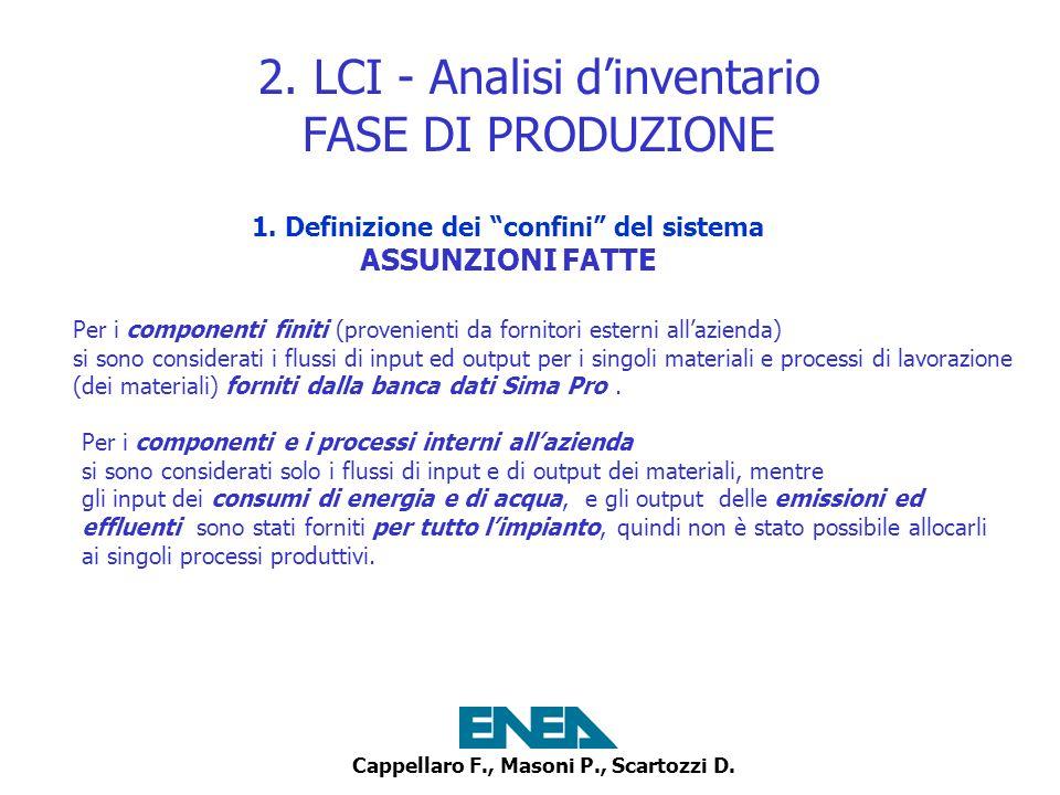 Cappellaro F., Masoni P., Scartozzi D. 2. LCI - Analisi dinventario FASE DI PRODUZIONE 1. Definizione dei confini del sistema ASSUNZIONI FATTE Per i c