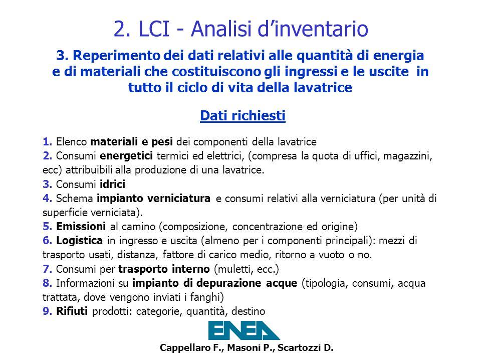 Cappellaro F., Masoni P., Scartozzi D. 2. LCI - Analisi dinventario 3. Reperimento dei dati relativi alle quantità di energia e di materiali che costi