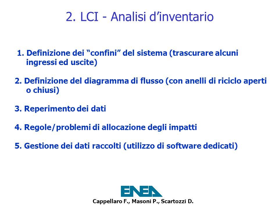 Cappellaro F., Masoni P., Scartozzi D. 2. LCI - Analisi dinventario 1. Definizione dei confini del sistema (trascurare alcuni ingressi ed uscite) 2. D