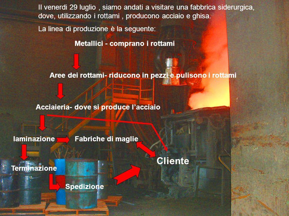 Il venerdi 29 luglio, siamo andati a visitare una fabbrica siderurgica, dove, utilizzando i rottami, producono acciaio e ghisa.