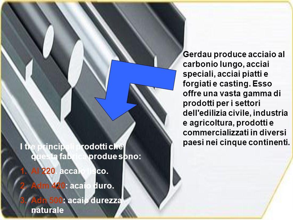 Gerdau produce acciaio al carbonio lungo, acciai speciali, acciai piatti e forgiati e casting.