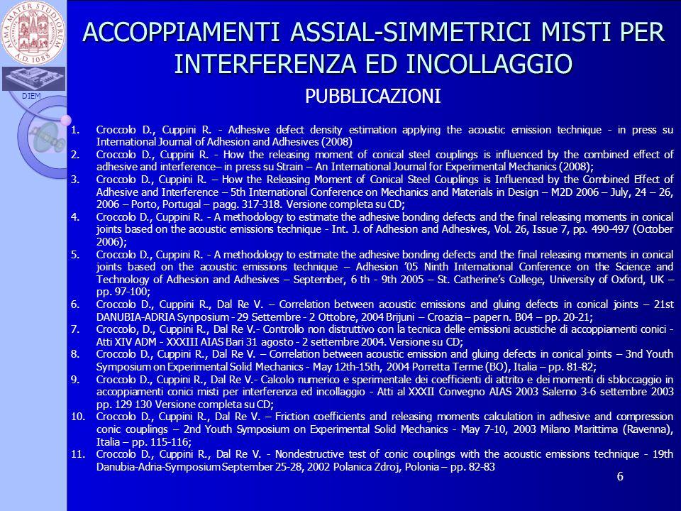 DIEM 6 ACCOPPIAMENTI ASSIAL-SIMMETRICI MISTI PER INTERFERENZA ED INCOLLAGGIO PUBBLICAZIONI 1.Croccolo D., Cuppini R. - Adhesive defect density estimat