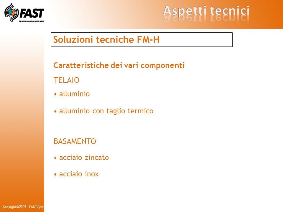 Copyright © 2009 - FAST SpA Soluzioni tecniche FM-H Caratteristiche dei vari componenti TELAIO alluminio alluminio con taglio termico BASAMENTO acciai