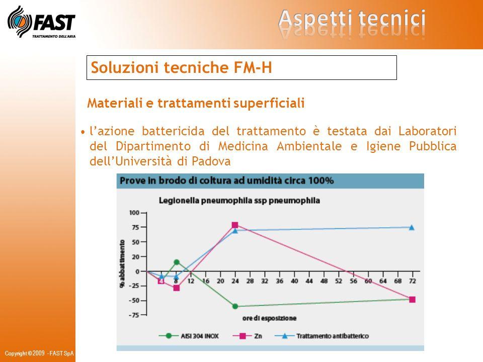 Soluzioni tecniche FM-H Materiali e trattamenti superficiali lazione battericida del trattamento è testata dai Laboratori del Dipartimento di Medicina