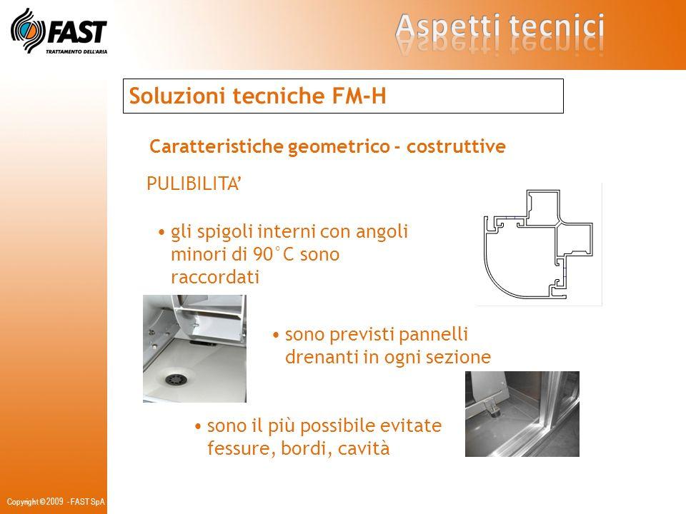 Copyright © 2009 - FAST SpA Soluzioni tecniche FM-H Caratteristiche dei vari componenti TELAIO alluminio alluminio con taglio termico BASAMENTO acciaio zincato acciaio inox