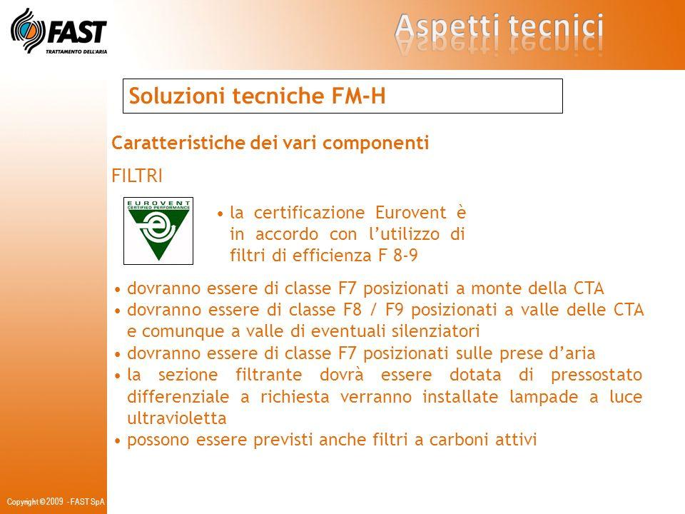 Soluzioni tecniche FM-H Caratteristiche dei vari componenti FILTRI la certificazione Eurovent è in accordo con lutilizzo di filtri di efficienza F 8-9