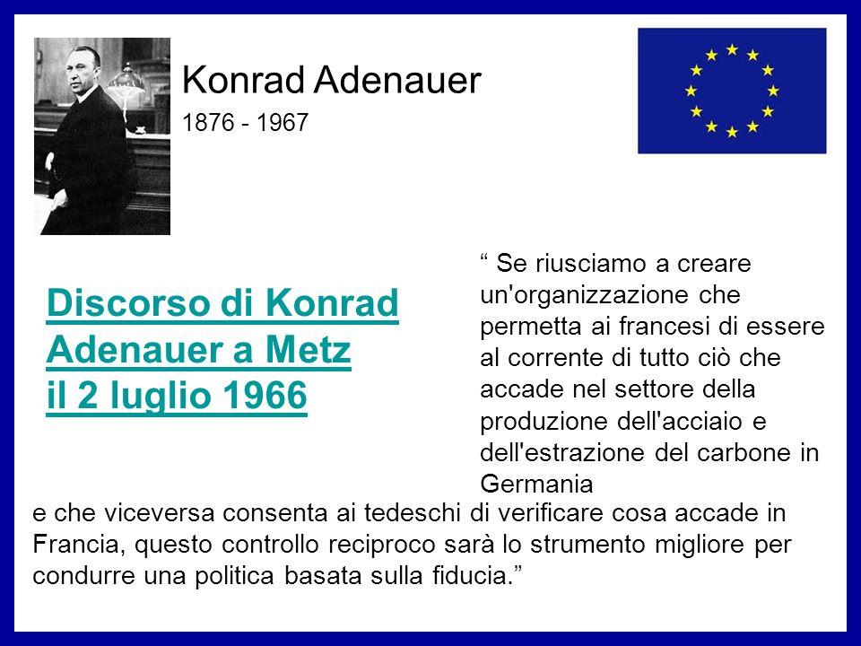 Konrad Adenauer 1876 - 1967 Discorso di Konrad Adenauer a Metz il 2 luglio 1966 Se riusciamo a creare un'organizzazione che permetta ai francesi di es