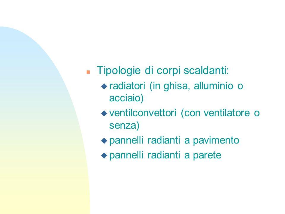 n Tipologie di corpi scaldanti: u radiatori (in ghisa, alluminio o acciaio) u ventilconvettori (con ventilatore o senza) u pannelli radianti a pavimen