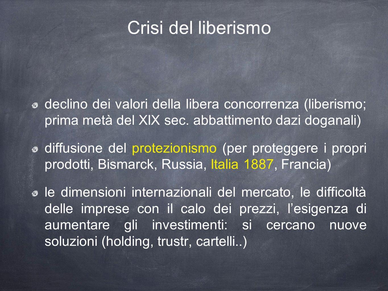Crisi del liberismo declino dei valori della libera concorrenza (liberismo; prima metà del XIX sec.