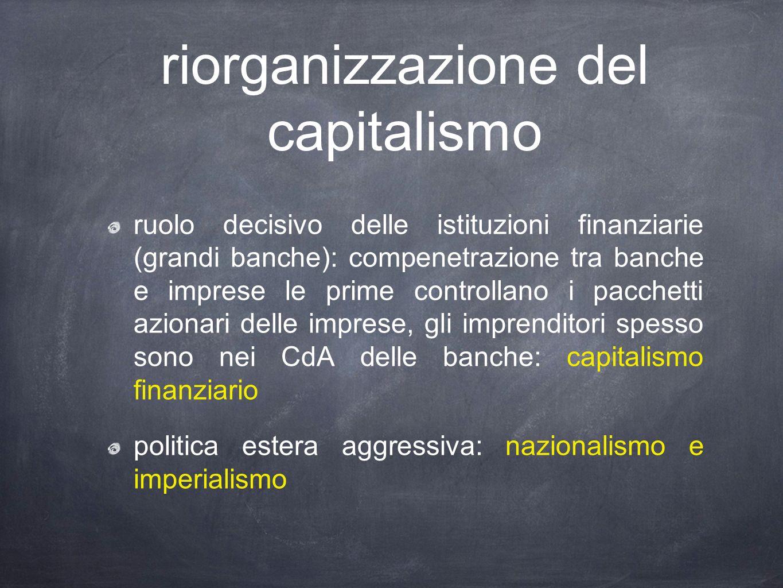 riorganizzazione del capitalismo ruolo decisivo delle istituzioni finanziarie (grandi banche): compenetrazione tra banche e imprese le prime controllano i pacchetti azionari delle imprese, gli imprenditori spesso sono nei CdA delle banche: capitalismo finanziario politica estera aggressiva: nazionalismo e imperialismo
