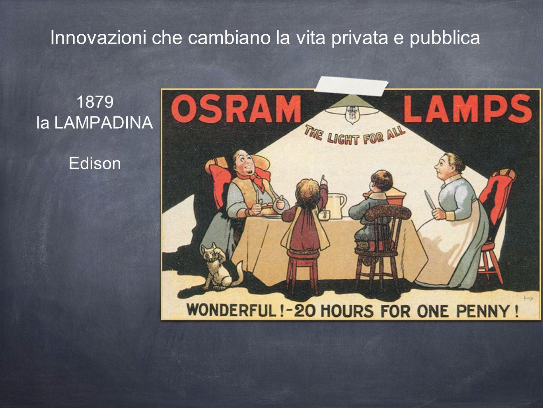 1879 la LAMPADINA Edison Innovazioni che cambiano la vita privata e pubblica