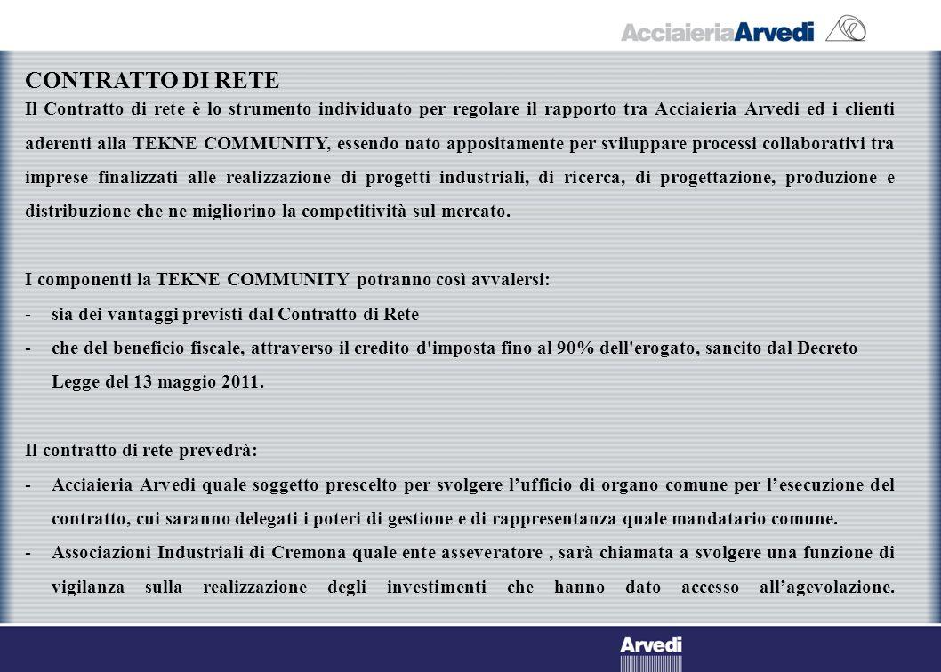Il Contratto di rete è lo strumento individuato per regolare il rapporto tra Acciaieria Arvedi ed i clienti aderenti alla TEKNE COMMUNITY, essendo nat