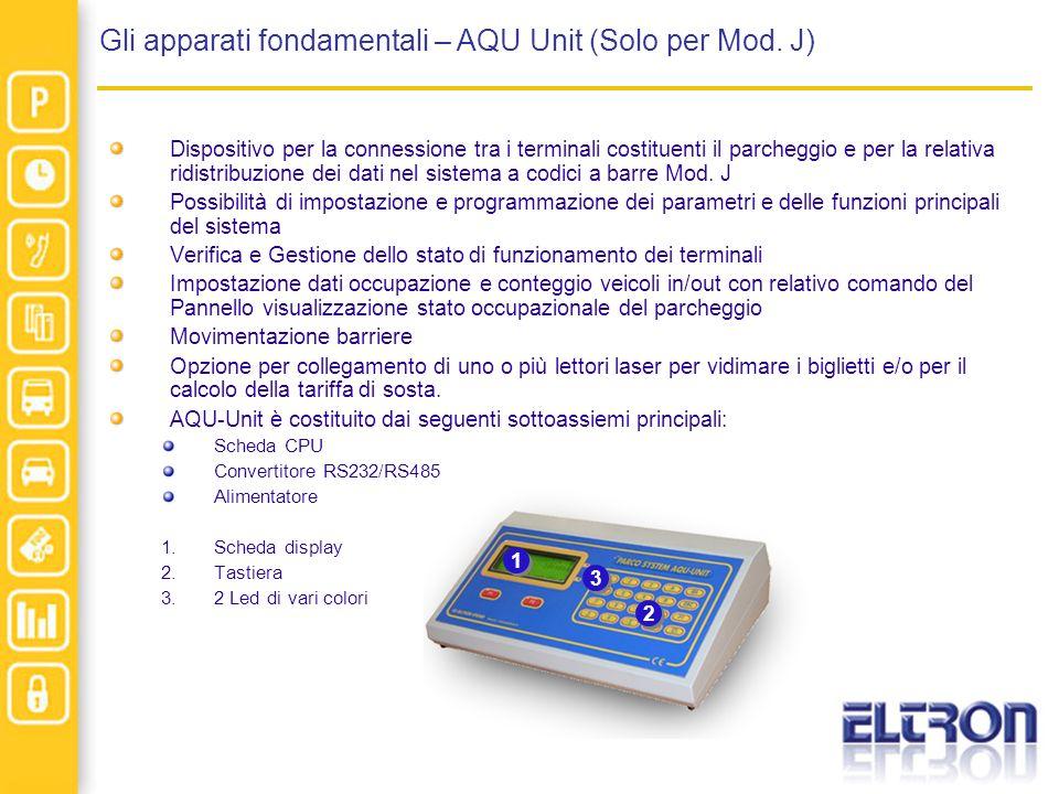 Gli apparati fondamentali – AQU Unit (Solo per Mod. J) Dispositivo per la connessione tra i terminali costituenti il parcheggio e per la relativa ridi