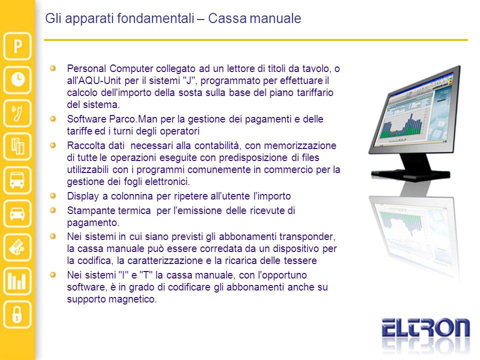 Gli apparati fondamentali – Cassa manuale Personal Computer collegato ad un lettore di titoli da tavolo, o all'AQU-Unit per il sistemi