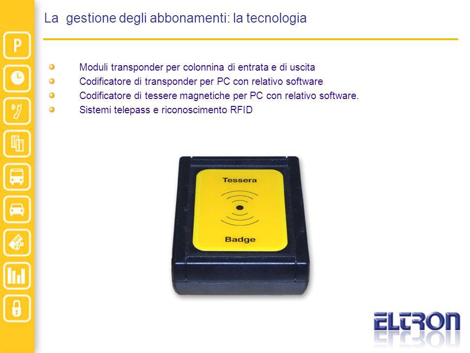 La gestione degli abbonamenti: la tecnologia Moduli transponder per colonnina di entrata e di uscita Codificatore di transponder per PC con relativo s
