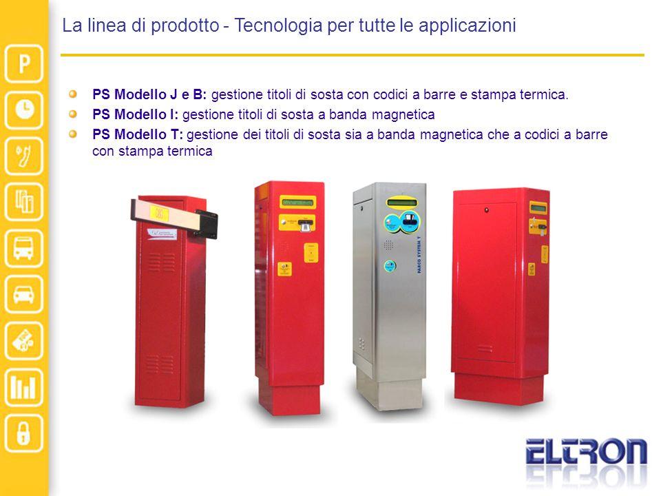 La linea di prodotto - Tecnologia per tutte le applicazioni PS Modello J e B: gestione titoli di sosta con codici a barre e stampa termica. PS Modello