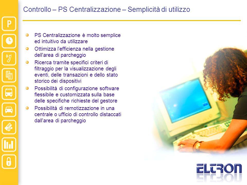 Controllo – PS Centralizzazione – Semplicità di utilizzo PS Centralizzazione è molto semplice ed intuitivo da utilizzare Ottimizza l'efficienza nella