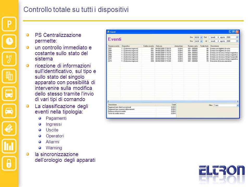 Controllo totale su tutti i dispositivi PS Centralizzazione permette: un controllo immediato e costante sullo stato del sistema ricezione di informazi