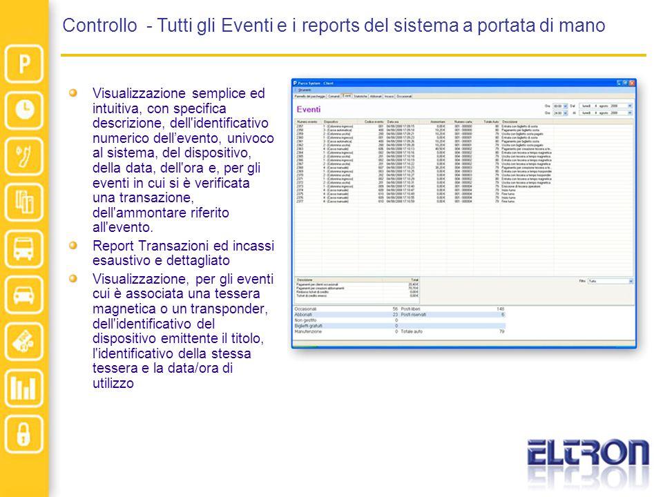 Controllo - Tutti gli Eventi e i reports del sistema a portata di mano Visualizzazione semplice ed intuitiva, con specifica descrizione, dell identificativo numerico dellevento, univoco al sistema, del dispositivo, della data, dell ora e, per gli eventi in cui si è verificata una transazione, dell ammontare riferito all evento.