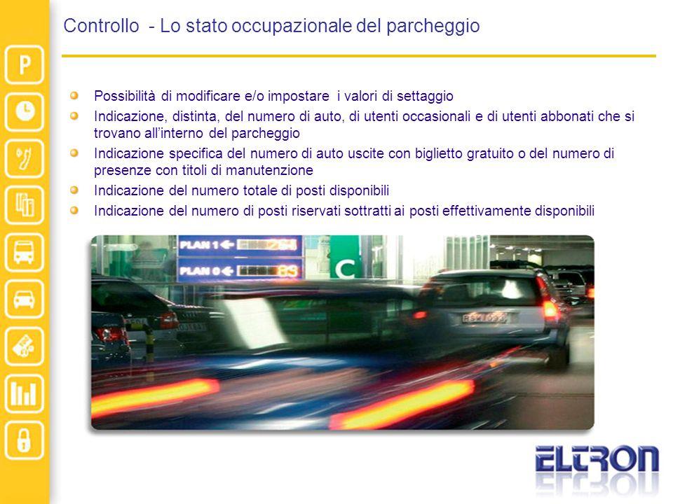 Controllo - Lo stato occupazionale del parcheggio Possibilità di modificare e/o impostare i valori di settaggio Indicazione, distinta, del numero di a