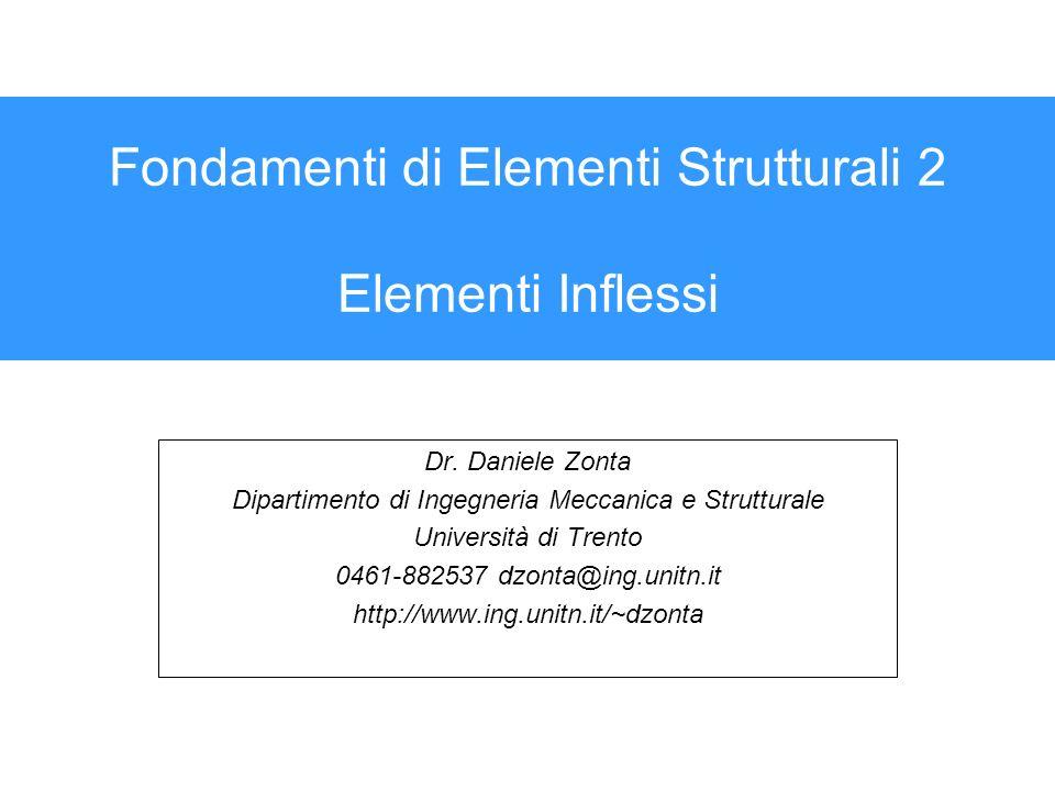 Fondamenti di Elementi Strutturali 2 Elementi Inflessi Dr. Daniele Zonta Dipartimento di Ingegneria Meccanica e Strutturale Università di Trento 0461-