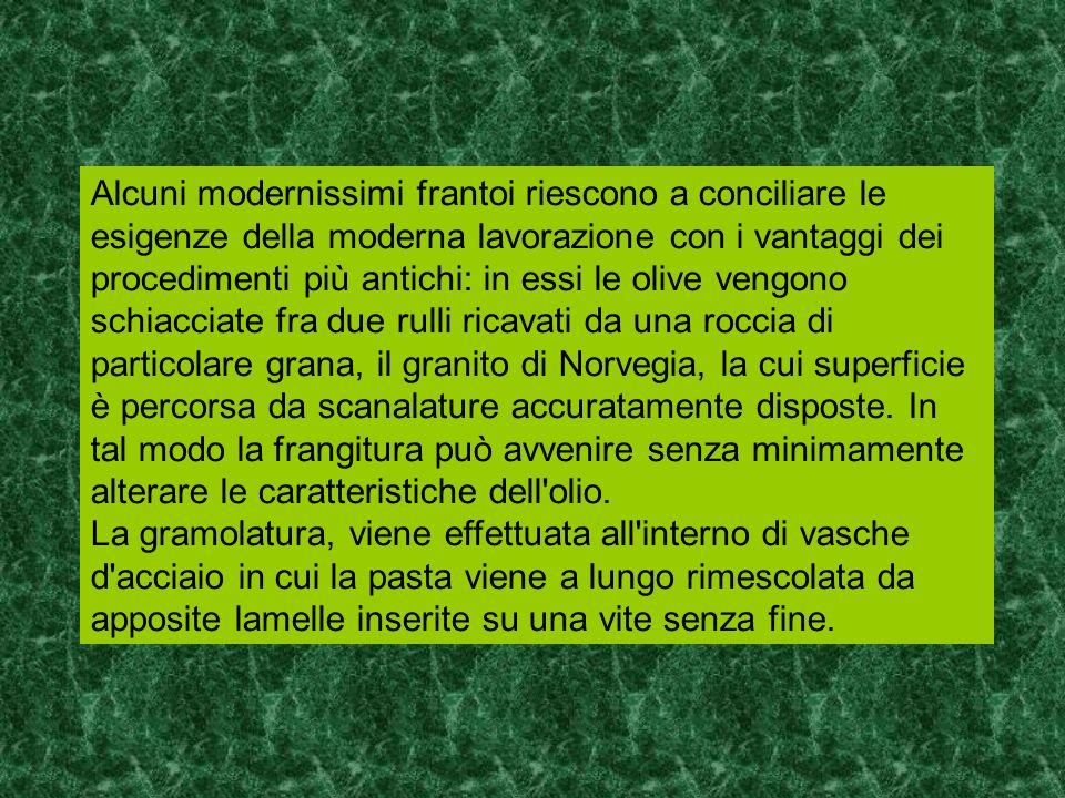 Alcuni modernissimi frantoi riescono a conciliare le esigenze della moderna lavorazione con i vantaggi dei procedimenti più antichi: in essi le olive