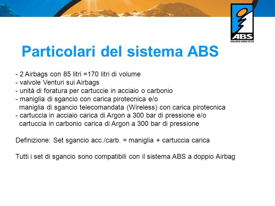 Particolari del sistema ABS - 2 Airbags con 85 litri =170 litri di volume - valvole Venturi sui Airbags - unità di foratura per cartuccie in acciaio o carbonio - maniglia di sgancio con carica pirotecnica e/o maniglia di sgancio telecomandata (Wireless) con carica pirotecnica - cartuccia in acciaio carica di Argon a 300 bar di pressione e/o cartuccia in carbonio carica di Argon a 300 bar di pressione Definizione: Set sgancio acc./carb.