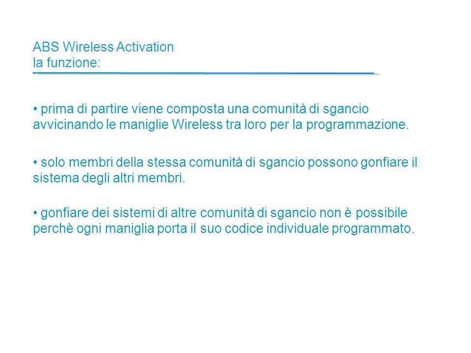 ABS Wireless Activation la funzione: prima di partire viene composta una comunità di sgancio avvicinando le maniglie Wireless tra loro per la programmazione.