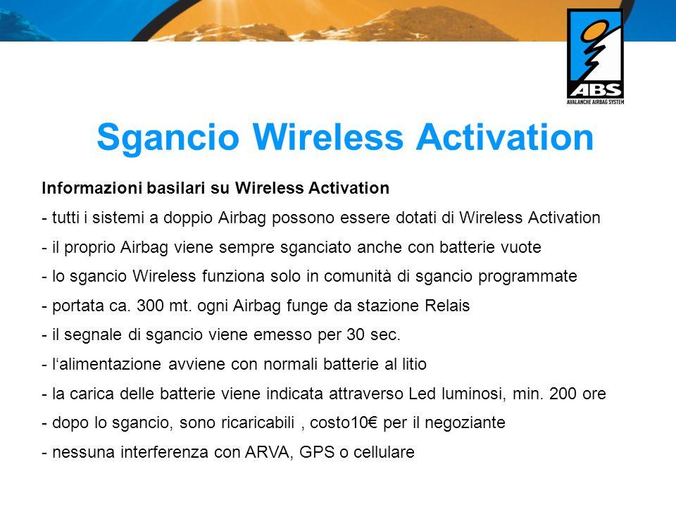 Sgancio Wireless Activation Informazioni basilari su Wireless Activation - tutti i sistemi a doppio Airbag possono essere dotati di Wireless Activation - il proprio Airbag viene sempre sganciato anche con batterie vuote - lo sgancio Wireless funziona solo in comunità di sgancio programmate - portata ca.
